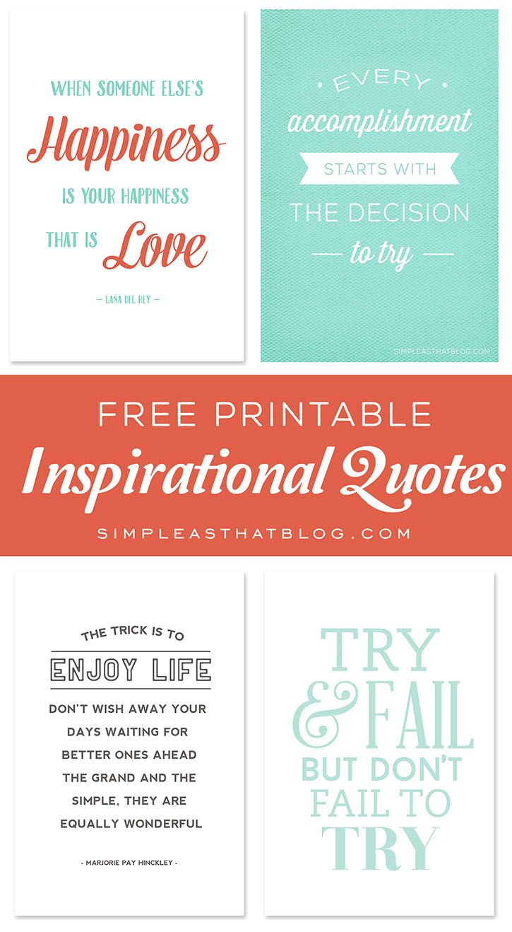 """Free printable 4""""x6"""" inspirational quotes - display around your home or print and add to an album. Available at simpleasthatblog.com"""
