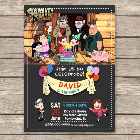 Gravity Falls Printable Digital Invitation.  All text can be customized.  You can choose the invitation's size: 4 x 6 or 5 x 7 inches.  *TURN AROUND TIME*  - The proofs 1-2 days  - The final files 1-2 days after approval.  YOU WILL RECEIVE:  • ...