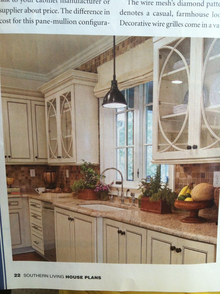 Off white cabinets and hand scraped walnut floors nice glass in the cabinets new house Kitchen cabinets 75 off