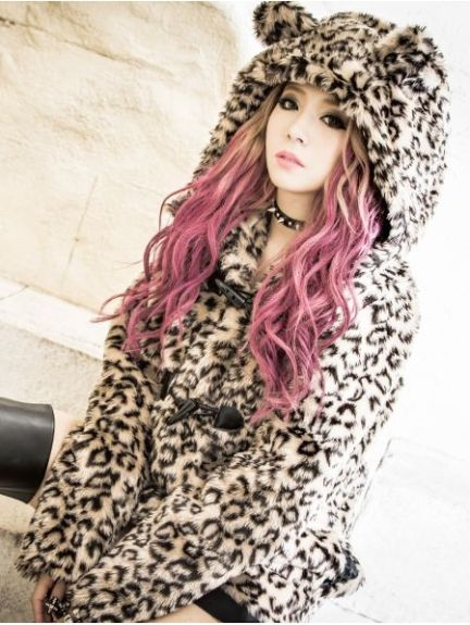 Gyaru Rokku Fluffy Animal Print Coat
