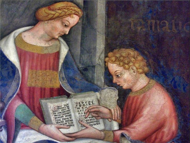 """The teacher of Grammar"", 1412. Gentile da Fabriano (c. 1370–1427) Italian painter. Palace de Trinci, Italy"