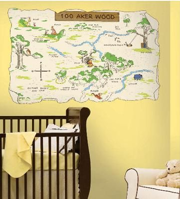 Neutral yellow baby nursery room with a Winnie the Pooh Bear Hundred Acre Wood Map Wall Decal: My babies' Willy Silly Old Winnie the Pooh Bear nursery room is painted a light honey colour.  I hung a Classic Pooh wallpaper boarder for added interest