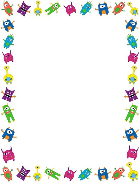 "Printable monster border.Use this for the body parts ""describe a monster to your partner"" activity.  Free GIF, JPG, PDF, and PNG downloads at http://pageborders.org/download/monster-border/. EPS and AI versions are also available."