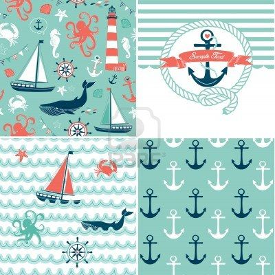 A set of 4 nautical backgrounds, blue, red and white seamless patterns Stock Photo