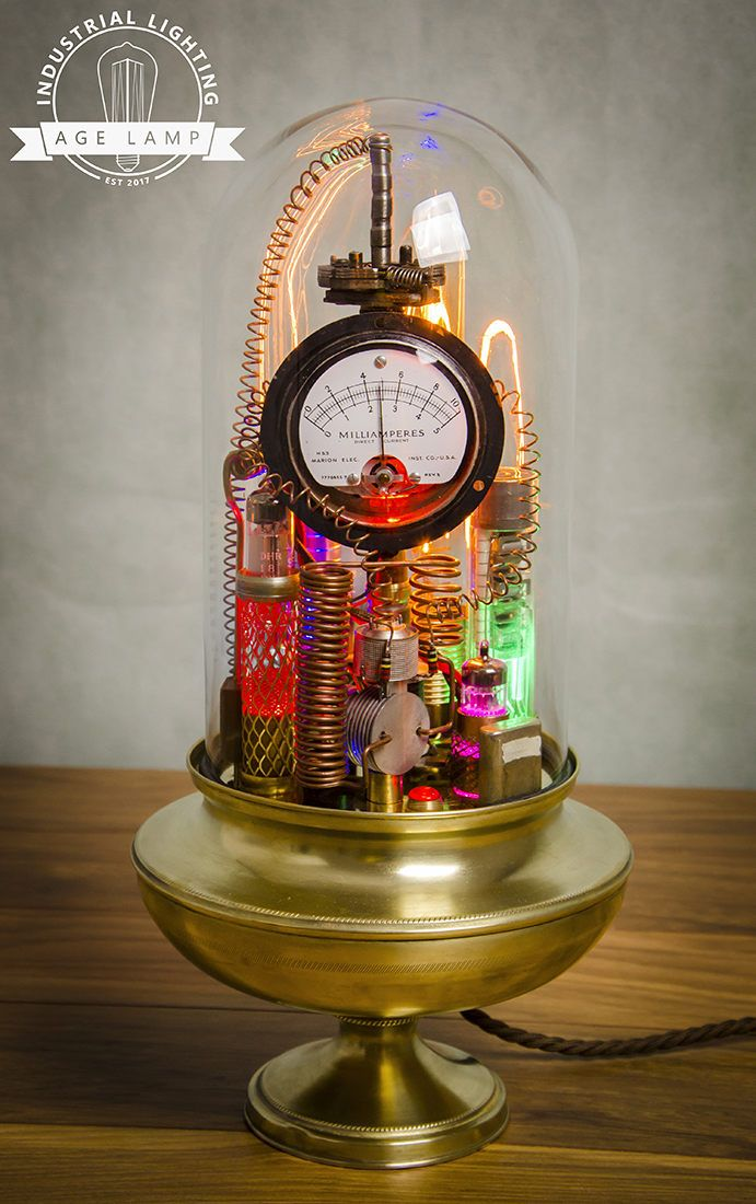 Steampunk Lamp Art Sculpture with Glass Dome Display with
