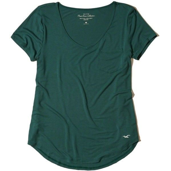 Hollister Must-Have Easy Pocket T-Shirt ($15) ❤ liked on Polyvore featuring tops, t-shirts, dark green, v-neck tee, dark green top, dark green t shirt, green t shirt and slouchy t shirt