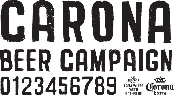 Carona Font. This typeface was developed and digitised for the 2012 Carona Beer 'From where you'd rather be' advertising campaign. #typography #studio #melbourne #type #characters #letterbox #stephenbanham #carona #font