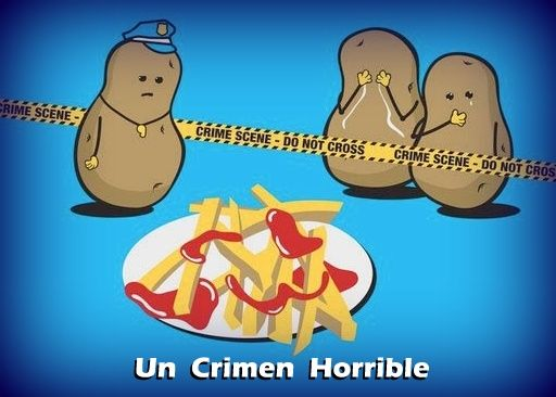 Visual Spanish joke: a horrible crime. #Spanish jokes for kids #chistes un crimen horrible citas frases gráficas