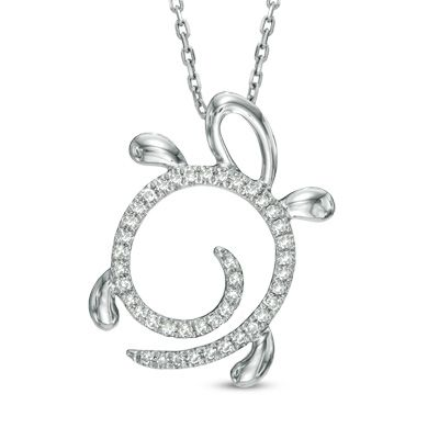 Zales 1/10 CT. T.w. Diamond Play Time Necklace in 10K White Gold 9ulNVQOI0