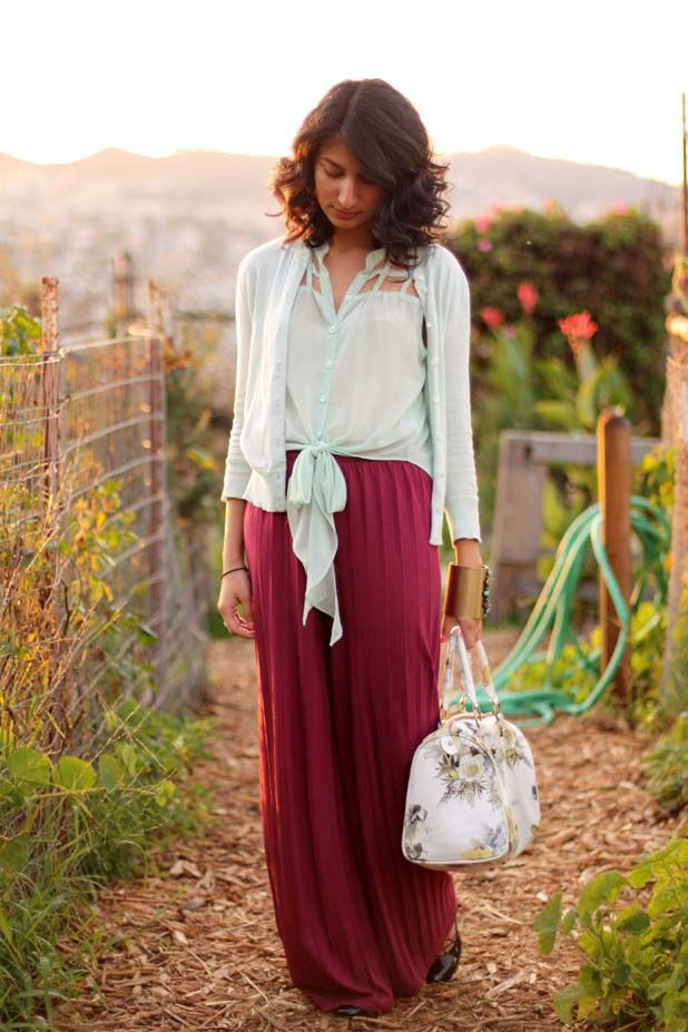 mint and maroon - via like fresh laundryColors Combos, Loose Curls, Color Combos, Minty Fresh, Long Skirts, Green Inspiration, Fresh Laundry, Minty Green, Maxis Skirts