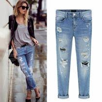 Nueva Moda mujer pantalones casuales Delgado Lápiz Pantalones Denim Jeans rasgados flacos