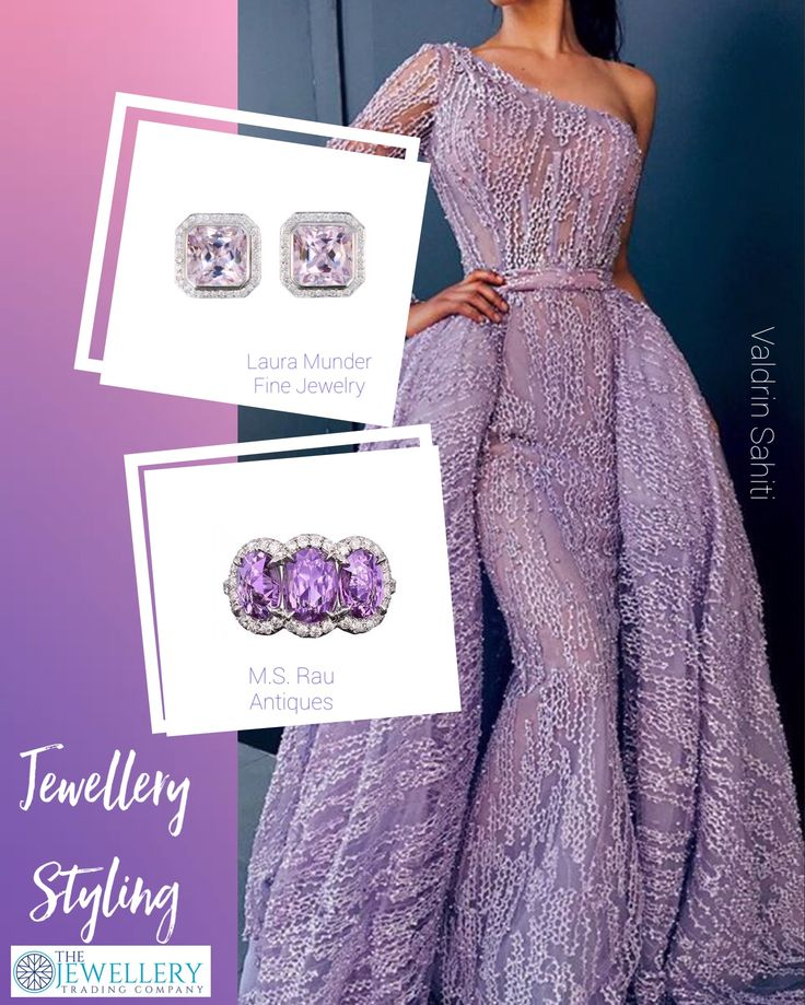 This gown from Valdrin Sahiti is truly out of this world. The colour is beautiful and the detail is first class. There a quite a few purple tone gemstones that would match this gown, but I have selected some simple Kunzite earstuds surrounded with a halo of diamonds by Laura Munder Jewelry and this magnificent purple sapphire ring (yes they are sapphires) from M.S.Rau Antiques. All jewels available from www.1stdibs.com
