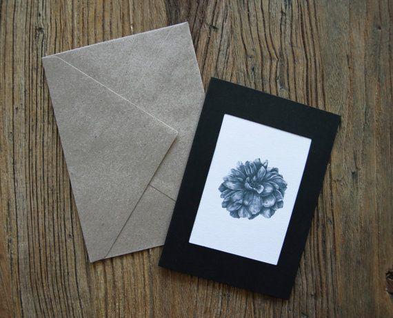 Flower greeting card, cute birthday card, pencil drawing, bday card, happy birthday, greeting cards handmade, gift idea, illustration print