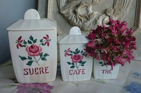 Vintage Ceramic Kitchen Storage Jars Shabby by FrenchPastTimes