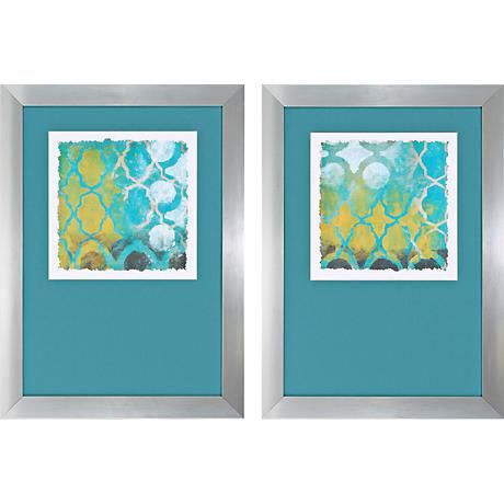 "169.. Neo Lattice 2-Piece 30"" High Framed Wall Art Set"