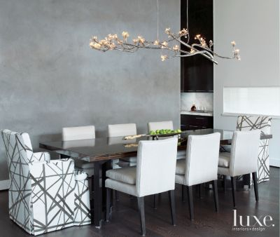 Sophisticated Grey Diningroom With Sculptural Chandelier