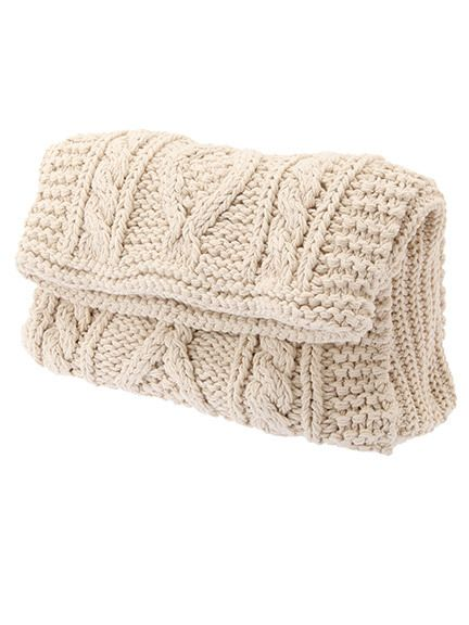 cable knit clutch white TODAYFUL