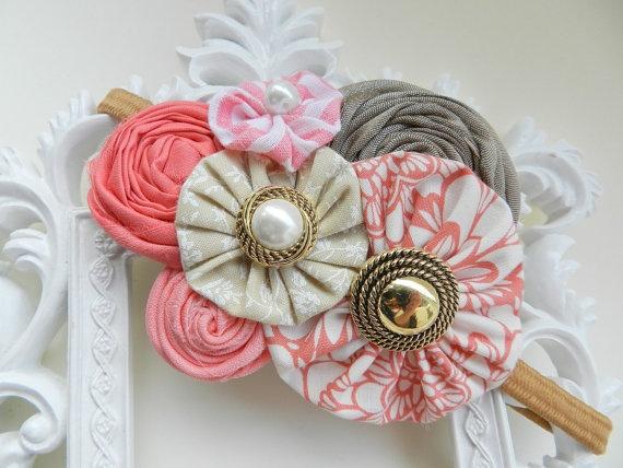 Multi flower headband idea (Baby Headband Pink Headband Newborn Flower Headband by poppyandmum)