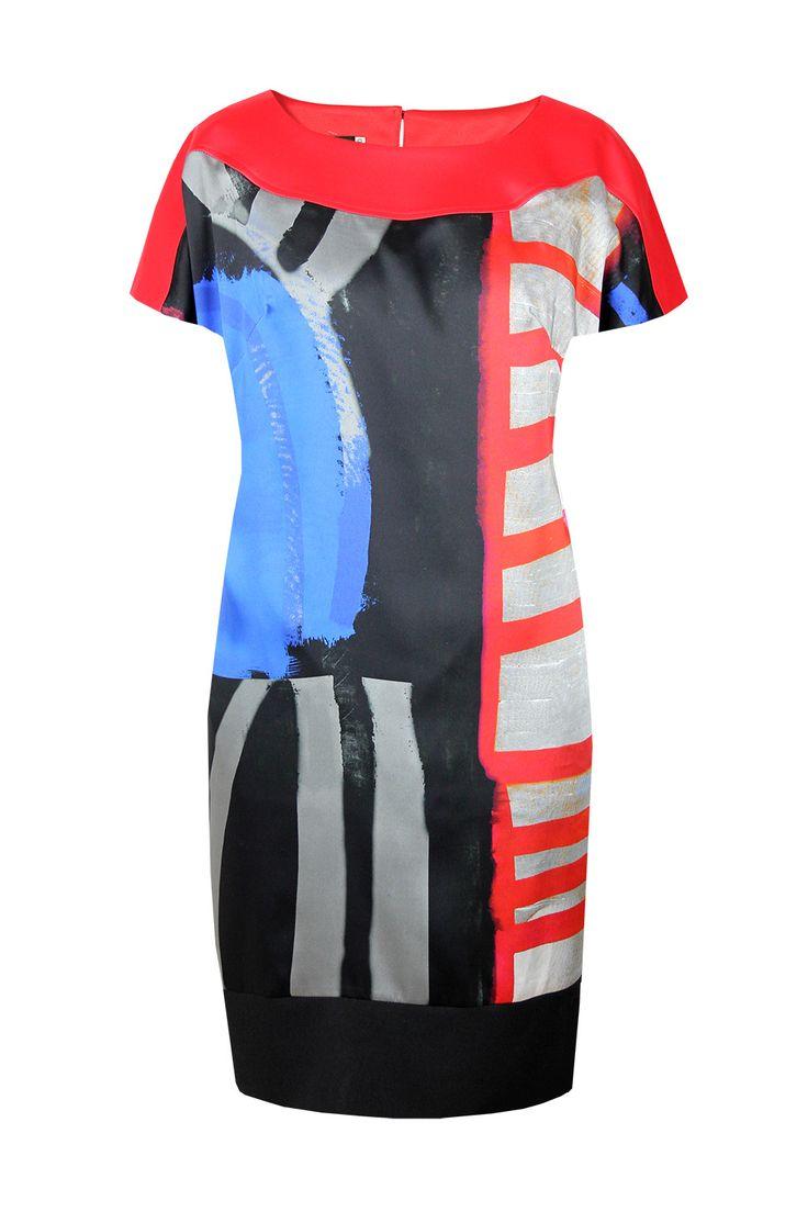 Suknia Fabiane czerwono-czarna geometria Semper  #dress #summer2016 #floral #orchid #trendy #fashion2016 #fashionbrand #red #elegance #elegant #designer #brand #casual #colourfull #printed #silk
