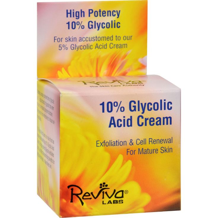 Reviva Labs 10% Glycolic Acid Renaissance Cream - 1.5 oz - Reviva Labs 10% Glycolic Acid Renaissance Cream Description:    For Skin Accustomed to Our 5% Glycolic Acid Renaissance Cream  High Potency 10% Glycolic  For Mature Skin Contains a unique polymer form of glycolic acid...actual strands of glycolic that enter the skins own natural polymer structure. They penetrate more effectively to induce better exfoliation.   10% Glycolic Acid Cream is for skin that has become conditioned to our 5%…