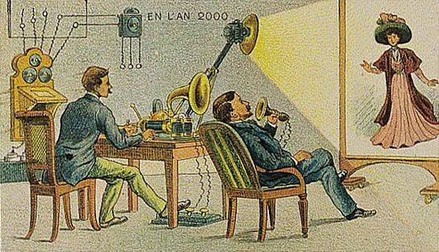 Them, 1900: Video telegraph // Us, 2013: Video phone calls, webcams, Skype... Is it just us or is this an eerily spot-on concept? // From: Sad and Useless