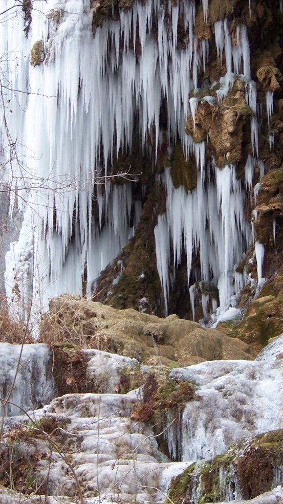 Frozen Gorman Falls, Colorado Bend State Park, Bend, Texas