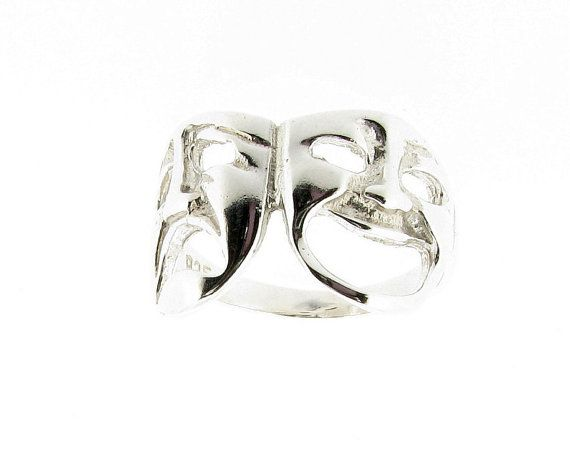 Sterling Silver Comedy & Tragedy Theatre Mask Design Ring - Sizes L - Q