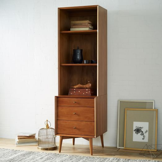 "Mid-Century Bookcases - Acorn | west elm - Overall product dimensions: 20.5""w x 19""d x 69""h. Narrow Hutch: 20.5""w x 15""d x 42""h. 3-Drawer or 1-Door , Need 4, $698"