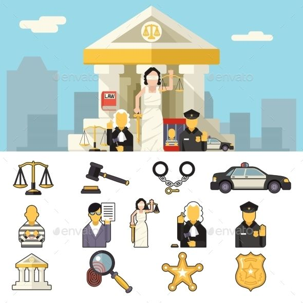 Law Icons Set Justice Symbol Concept by Meilun Law Icons Set Justice Symbol Concept City Background Flat Design Vector Illustration