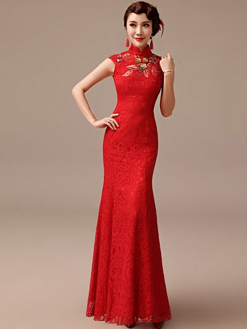 Red Fishtail Qipao / Cheongsam Wedding Dress with Applique