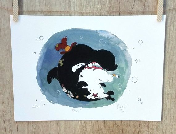 Orca whale Fine Art Print, gouache illustration by #TerrapinAndToad #orca