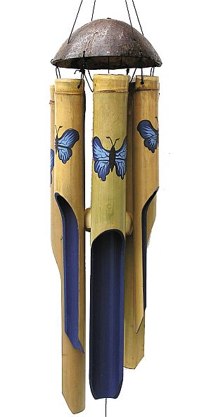 Blue Butterfly Large Bamboo Garden Wind Chime