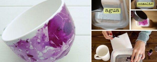 Haz unas fabulosas tazas marmoladas con esmalte de uñas | La Bioguía
