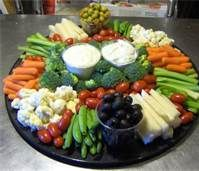 vegetable tray ideas - Cucumbers, carrots, broccoli, olives, tomatoes, cauliflower, celery and snap peas