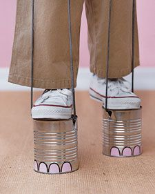 Mini-stilts made from cans... Love the elephant toes!