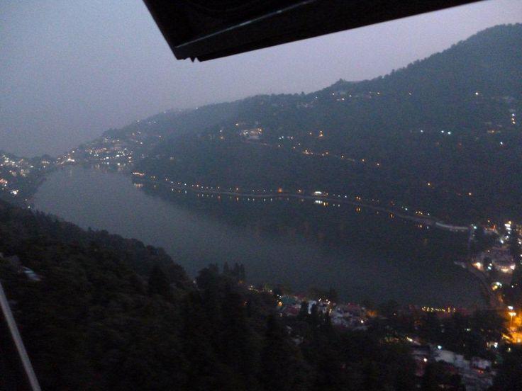 Nightview,Nainital lake and town