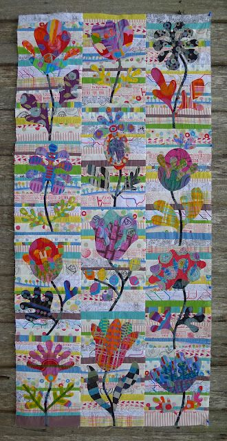 Cabbage Quilts: Flower Garden.  This makes me smile!: Flowers Gardens, Quilts Patterns, Applique Quilts, Kim Mclean, Cabbages Quilts, Flower Gardens, String Quilts, Quilts Ideas, Gardens Quilts