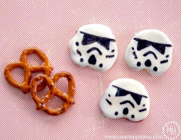 Easy to make Star Wars Stormtrooper Pretzel Snacks