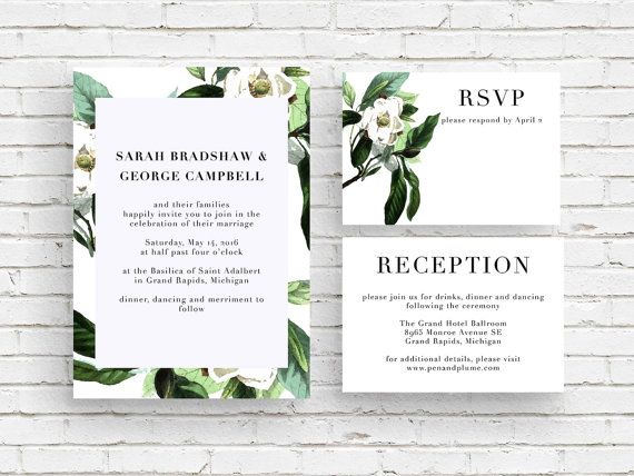 The Magnolia Invitation coordinates with the Magnolia Save-the-Date and features vintage botanical illustration of the delicate white magnolia