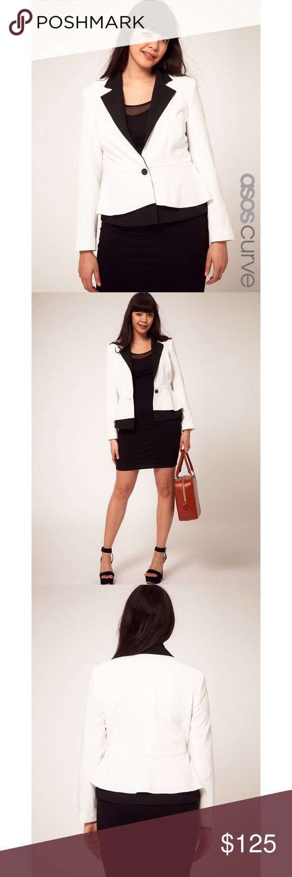 ASOS CURVE Peplum Jacket White Black Lapel Blazer ASOS CURVE Exclusive Peplum jacket stunning white Blazer with with black lapels in US size 20. NWOT New without tags. ASOS Curve Jackets & Coats Blazers