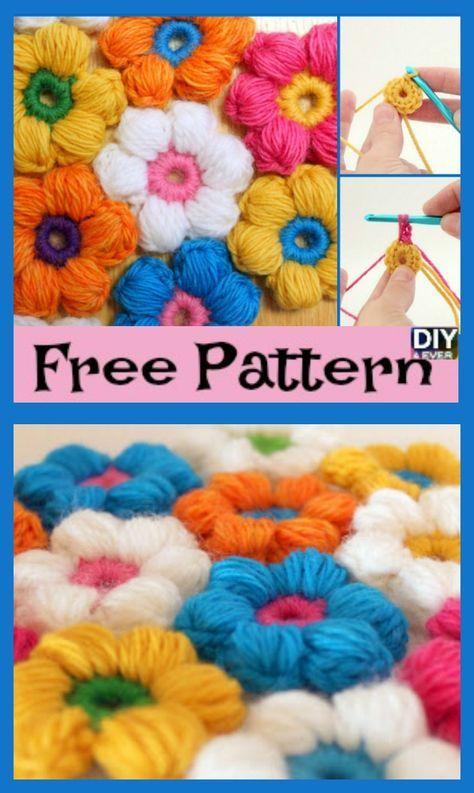 6 Petal Crochet Puff Stitch Flowers - Free Pattern | crochet flower ...