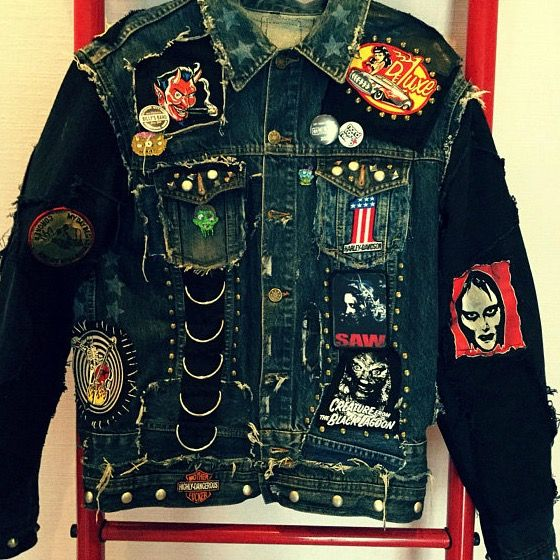 • Handmade Distressed & Frankenstitched details  • Studded & Patchwork  • Pins  • Skull Bones backpatch  • Rocknroll King Leather Latters  • Black Sleeves / Blue Body  • Hand print stars  • Silver oxidized D-rings down the front