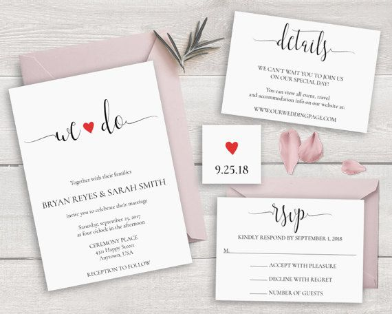 Calligraphy Wedding Invitation Set Template We By Novaprintables
