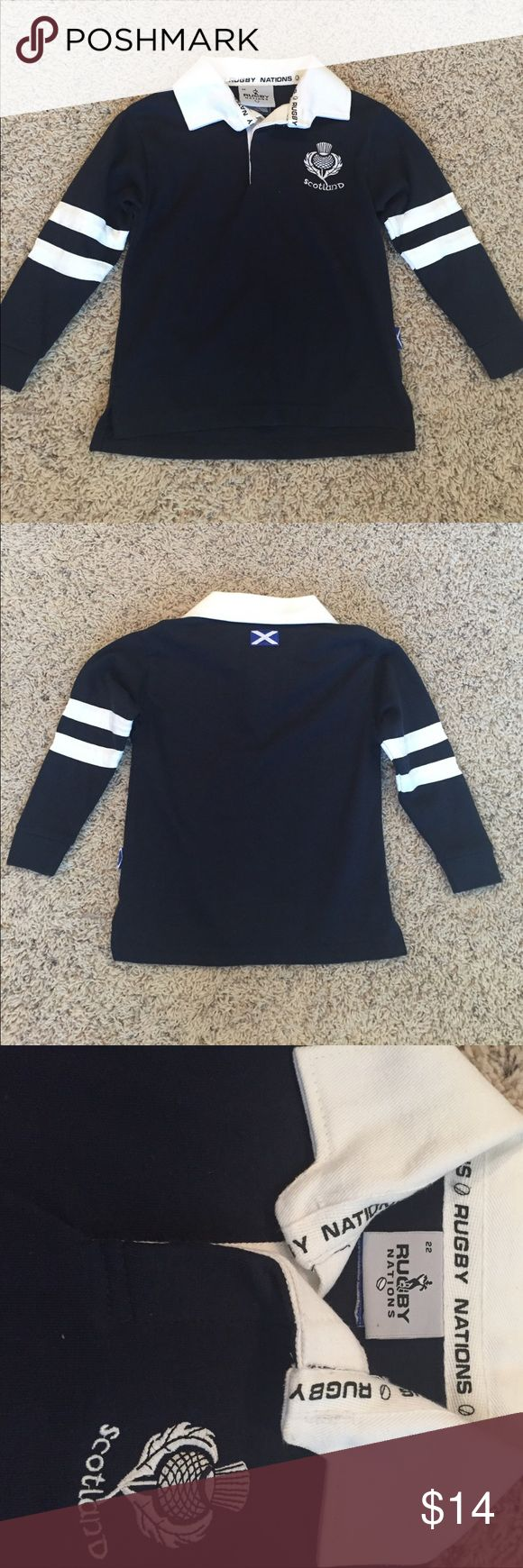 NWOT official Scotland rugby shirt. Size 22 NWOT boys official Scotland Rugby long sleeve shirt. Never worn and perfect condition!  Size 22, navy blue!  Perfect for the sports fans! Shirts & Tops Polos