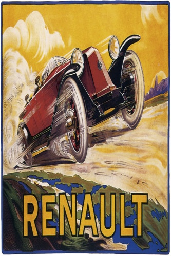 Racing Renault Vintage POSTER.Room Decor.Art Deco.(Art Deco or deco, is an eclectic artistic and design style that began in Paris in the 1920s and flourished internationally throughout the 1930s and into the World War II era. The style influenced all areas of design, including architecture and interior design, industrial design, fashion and jewelry, as well as the visual arts such as painting, graphic arts and film)