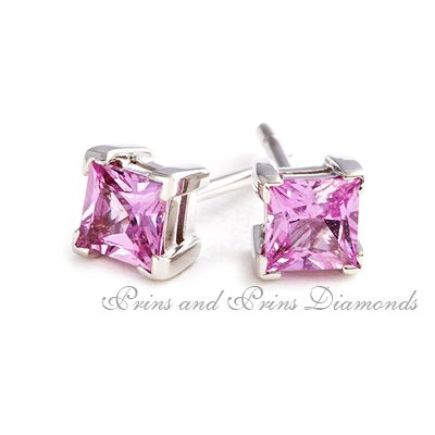 2 = 0.80ct princess cut pink sapphires set in corner claw 18k white gold stud mounts