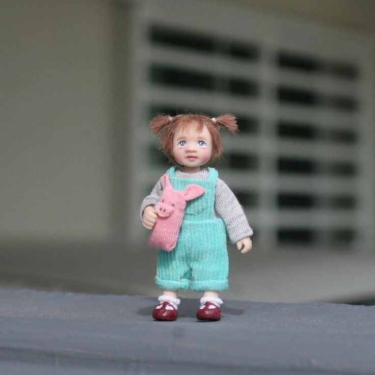 Dollhouse Miniature OOAK Toddler Girl Doll with Stuffed Pig Toy 1/12th scale Poseable Polymer…