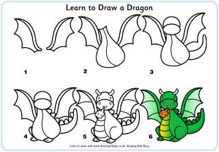 Dragons Love Tacos Learn to draw a dragon---Easy instructions, can be done on top of birthday cake.