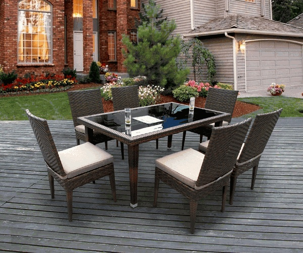 All Weather Patio Wicker Furniture 7pcs Dining Set New