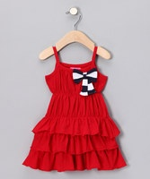 A fresh nautical trend comes alive in this little dress. Smocking at the bodice and stretchy sleeves ensure a comfortable and stable fit while a ruffled skirt and striped bow add scrumptious style that's ready for the next boat party.100% cottonMachine washImported: Ruffles Skirts, Nautical Red, Ruffle Dress, Red Ruffles, Girls Dresses, Future Baby, Ruffles Dresses, Future Stars, Dresses 1099